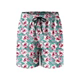 Rtopical Pattern On Pink Mens Quick Dry Lightweight Beach Shorts Drawstring