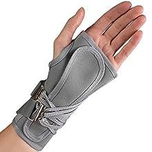 OTC Wrist Splint, Cock-Up Lacing, Canvas, ProChoice, Grey, Medium (Left Hand)