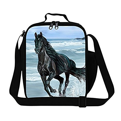 Creativebags Man and Women Lunch Bags Boxes for Outdoors Sports Leisure Life and School Children Boys Girls Polyester 3D Horse Prints