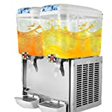 OrangeA Juice Dispenser Commercial Beverage Dispenser with Spigot Drink Dispenser 9.5 Gallon Cold Fruit Juice Beverage Ice Tea Drink Dispenser 18L X 2 Tanks (9.5 Gallon 2 Tanks)