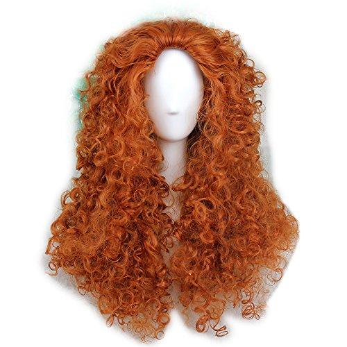 FWHWJ Women's Fluffy Wavy Curly Party Halloween Costume Wig Long Orange by FWHWJ
