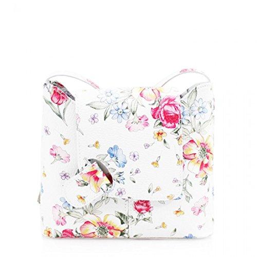 Ladies Leather Cross Body Bag Vera Pelle Women Messenger Over Shoulder Bag Adjustable crossbody strap Bag Floral