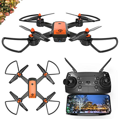 Drone with Camera, TOPVISION FPV RC Drone for Beginners with 720p and 480P Camera 120 Wide Angle WiFi Quadcopter with Altitude Hold Headless Mode, VR Mode, Orange
