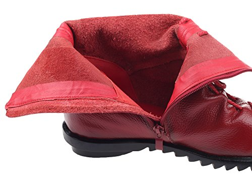 Rot Damen Vintage Boots Kurze Style3 MatchLife Blumen Leder Stiefel 6qxnpFa8