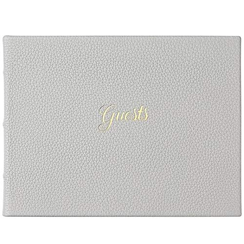 Guest Book in Elegant Calfskin LT Gray Leather for a Lasting Record by Graphic Image -
