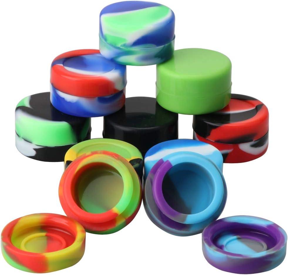 XIFEI Non-Stick Food Grade Silicone Wax Containers 5ml Non Stick Wax Oil Multi Use Storage Jars,10Pcs different color