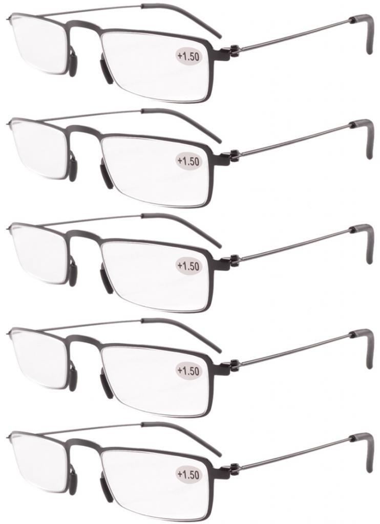 Eyekepper Gafas de lectura 5-Pack Marco de metal estampado Recta Delgado estilo mitad-ojo negro +4.0