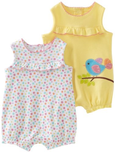 Little Me Baby-girls Newborn Bird 2 Pack Romper