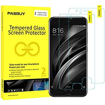 PASBUY 2 Pack [ Japan Glass ] Super thin 0.26mm Premium Tempered Glass film Screen Protector-Retail packing for Xiaomi Mi6