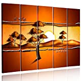 Feeby. Multipart Canvas - 5 panels - Wall Art Picture, Image Printed on Canvas, 5 parts, Type C, 150x100 cm, ABSTRACTION, SAVANNA, AFRICA, SUNRISE, TREES, YELLOW, ORANGE