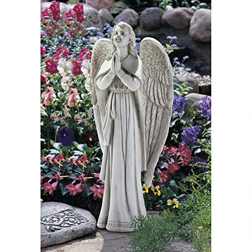 (Design Toscano Divine Guidance Praying Guardian Angel Religious Garden Statue, Large, 33 Inch, Polyresin, Antique Stone)