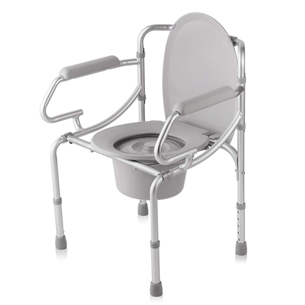 OUUCL Commode Folding Chair and Toilet Surround, Shower Chair Aluminum Alloy Adult Folding Chair for Elderly Seniors, Disabled, Handicapped, Grandparents by OUUCL
