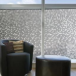 Coavas 3D Self-static Decorative Glass Film Bathroom Mosaic Privacy Window Film, 17.7 Inch by 78.7 Inch