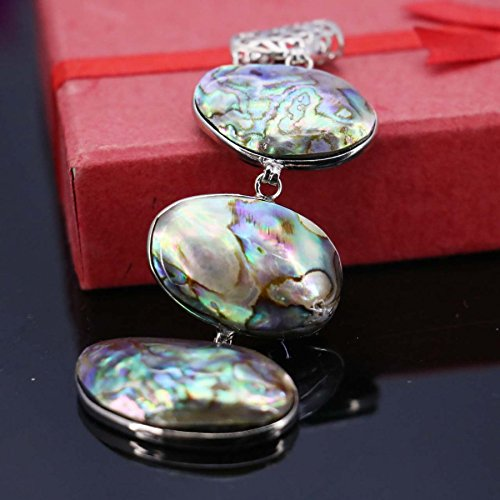 usongs Color natural mother pearl shell abalone shell necklace pendant gift women girls short paragraph sweater chain necklace pendant 26 38 MM ()
