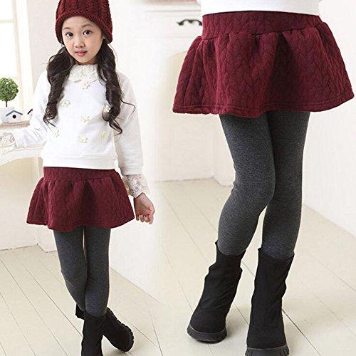 Gonna Di Ragazze Pantaloni Cotone Inverno Date Leggings Mini Doppie Spessore Bozevon Rosse wBnpn