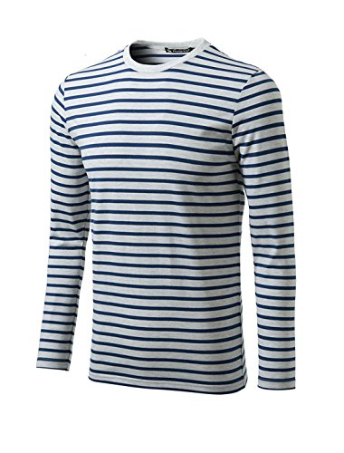 uxcell Men Crew Neck Long Sleeves Striped T-Shirt Navy Gray XL(US 46) ()