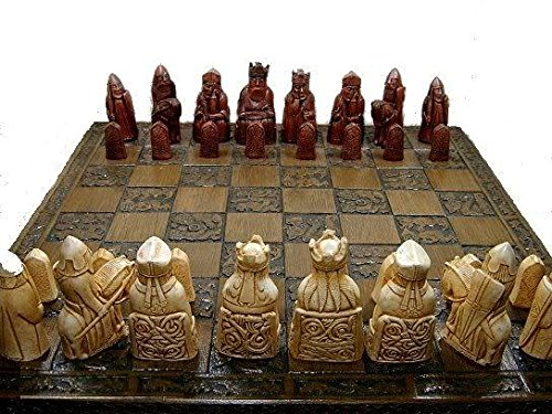 Isle of lewis chessmen - full size complete set of chess set game pieces vintage and (Chessmen Chess)