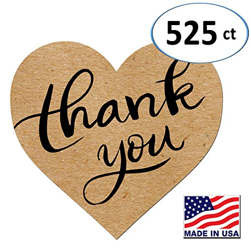 Heart Love Shape Kraft Paper Thank You Adhesive Label, 1.5