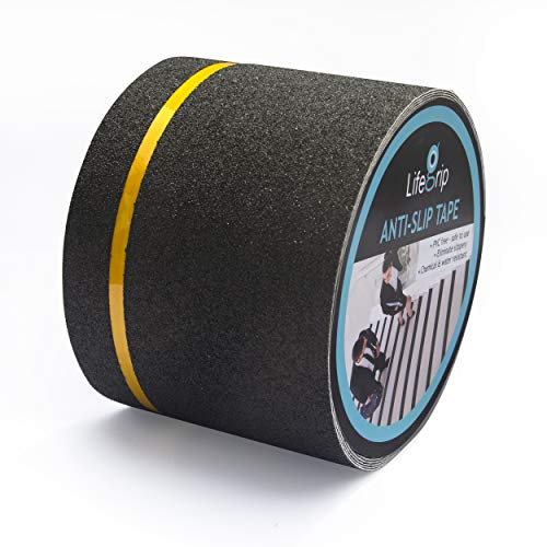 New! LifeGrip Anti Slip Traction Tape with Reflective Stripe, 4 Inch x 30 Foot, Best Grip Tape Grit Non Slip, Outdoor Non Skid Treads, High Traction Friction Abrasive Adhesive for Stairs Step, Black