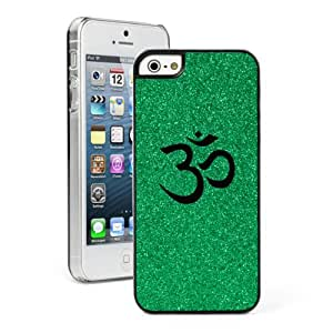 Apple iPhone 5c Glitter Bling Hard Case Cover Hindu Symbol (Green)