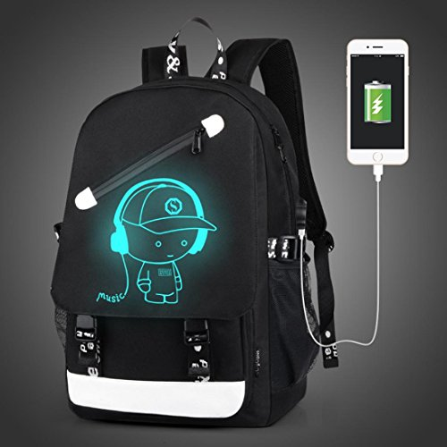 Backpack, Hometom Noctilucent Backpack Cartoon School Bags with USB Charging Port (Black02)