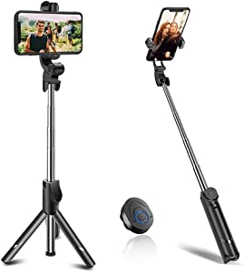 Selfie Stick, BAVNCO Compact Extendable Bluetooth Selfie Stick Tripod Stand with Detachable Wireless Remote for iPhone 11 MAX XR X 8 7 6S Plus/Samsung Galaxy S10 S9 S8 Plus Note 10 8/ LG More Android