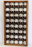 40 Baseball Arcylic Cubes Display Case Cabinet Holders Rack w/ UV Protection, Walnut