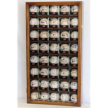 Image of 40 Baseball Arcylic Cubes Display Case Cabinet Holders Rack w/ UV Protection, Walnut Accessories
