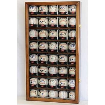 Image of 40 Baseball Arcylic Cubes Display Case Cabinet Holders Rack w/ UV Protection, Walnut