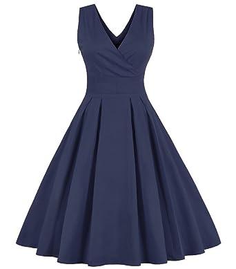 Aecibzo Women Summer Pinup Retro Robe Rockabilly 50s Vintage Dress
