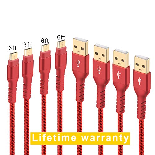 Boreguse GP-C002 Micro USB Cable Android Charger Super-Durable Nylon-Braided Fast Sync Charging Cord for Samsung, Kindle, HTC, Nexus, LG, Xbox, PS4, Smartphones & More, Red, 3ft 6ft, 4-Pack