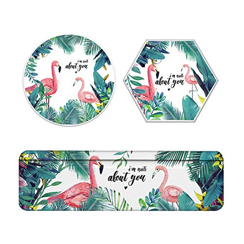 Calculs Flamingo Absorbent Bathtub Mats Spring Coaster Soap Dishes Holder for Home Decoration Diatomaceous Earth Set of 3