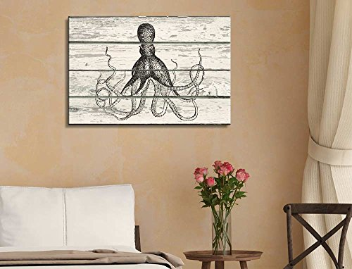 Sketched Drwaing of an Octopus on a Rustic Wooden Background