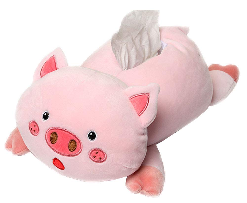 FUYU Cartoon Animal Pig Soft Plush Zipper Tissue Holder Pig Tissue Box With Clasp For Home Car Decoration