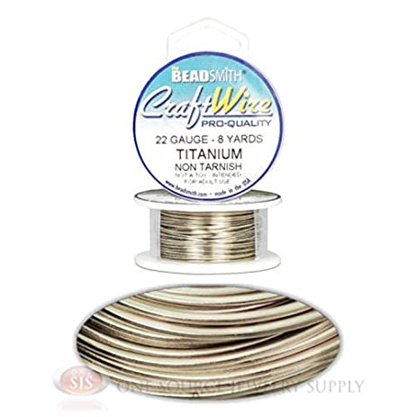 Amazon.com: 8 Yds Titanium 22GA Round Craft Wire Jewelry Beading ...