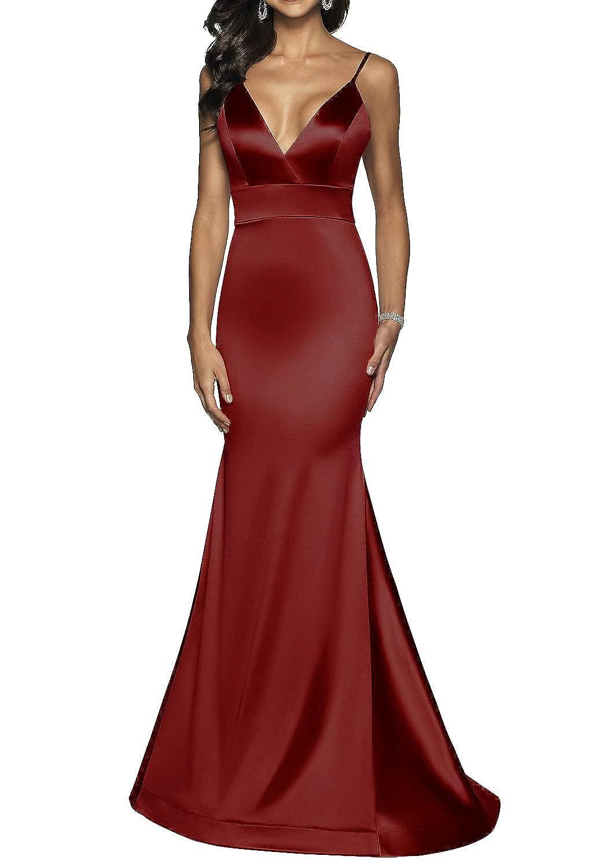 Dark Red Long VNeck Formal Prom Dress for Women with Trumpet Spaghetti Straps Skirt