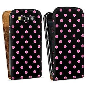 Diseño para Samsung Galaxy S3 i9300 / LTE i9305 DesignTasche white - Polka Dots - schwarz und pink