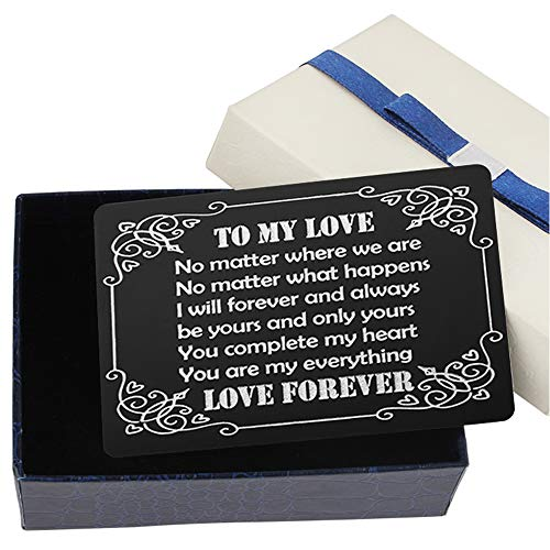 Engraved Wallet Inserts Make the Perfect Birthday Gifts for Men, Metal Wallet Card Love Note -To My Love - Mens Birthday Gifts Ideas, Gift for Birthday for Men, Husband, Boyfriend, Him
