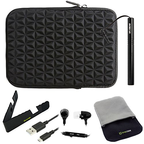 BIRUGEAR 6 Items Essential Accessories Bundle kit for 7-Inch Tablet: Samsung Galaxy Tab 4 & 3 7.0; Acer ICONIA ONE 7 B1-730 HD, B1-720, B1-710, A1-810, A1-830, B1-A71, A1-713 and more ( Black Super Soft Cushion Vertical Neoprene Sleeve Case included)