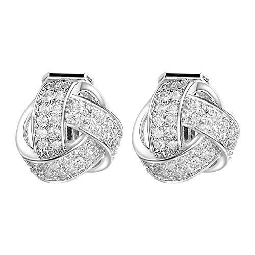Clear Crystal Pierced Earrings - Yoursfs Woven White Clear Crystal Love Knot Clip On Earring For Women Non Pierced Ears Hypoallergenic Clip Earrings