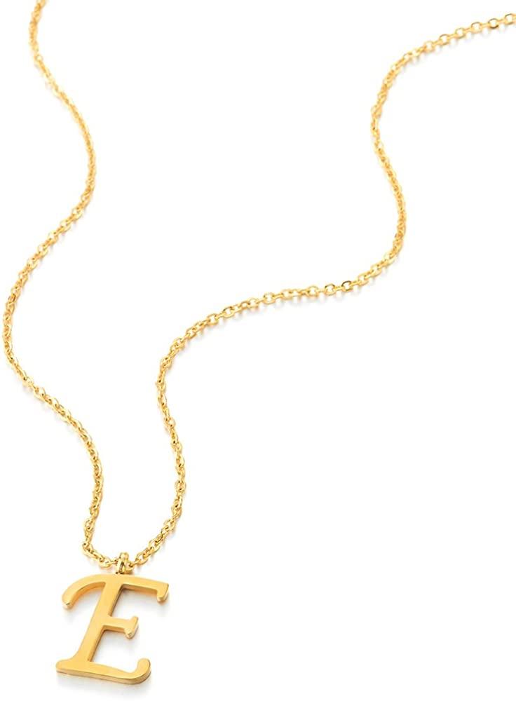 COOLSTEELANDBEYOND Womens Mens Steel Name Initial Alphabet Letter 26 A to Z Pendant Necklace with 20 inches Chain Gold Color