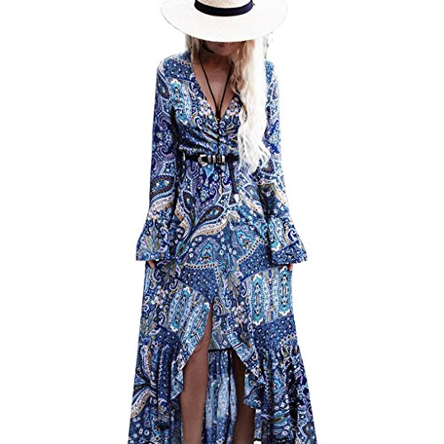 BIYOUTH Women's Bohemian Deep V-Neck Bell Sleeve Summer Beach Evening Party Peasant Long Maxi Dress