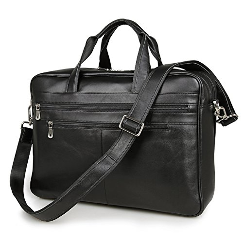 Black 17'' Laptop Attache Briefcase Professional Real Leather Tote Business Bag Shoulder Messenger Bag by BAIGIO