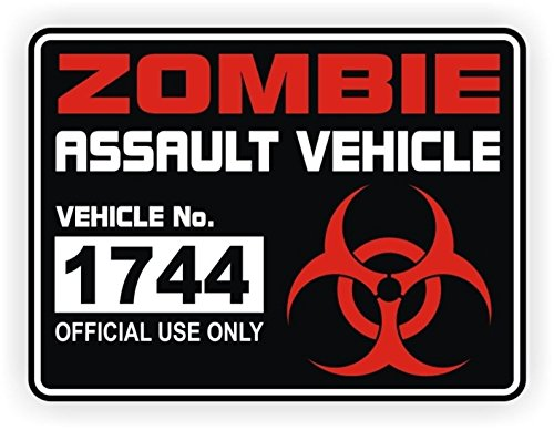1 Pcs Fiduciary Unique Zombie Assault Vehicle Official Use Only Sticker Sign Windows Laptop Window Wall Art Funny Vinyl Stickers Patches Size 3
