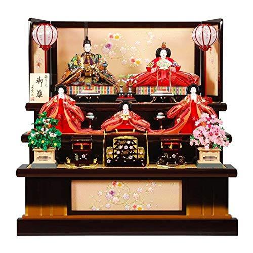 雛人形 五人揃三段飾り 【舞桜】セット 35号(5人)[幅105cm] 葡萄金塗[sb-4-59] 雛祭り   B07KVY3DVY