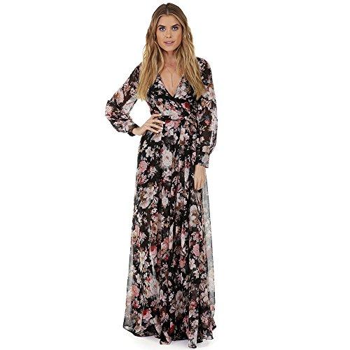 Women Floral Vintage Boho Prom Dress Black - 4