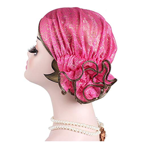 CHIDY Women Floral Muslim Hat Stretch Retro Turban Hat Head Scarf Wrap Cap Solid Color Flower Cap