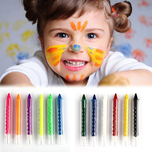 Makaor Face Paint For Kids Professional Non-toxic Body Painting Makeup Party Painting 6 Colors Face Paint Kit (Multicolor, A)