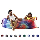 NewNomad inflatable lounge chair, airsofa, inflatable lounger, ideal for music festival and camping, inflatable air lounger.(Tie Dye)