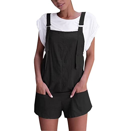 61ed6af1852 Fanteecy Women Summer Casual Straps Jumpsuit Overalls Shorts Pants Cotton  Linen Romper Outfits Loose Playsuit Jumpers